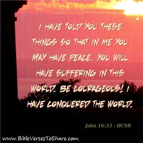 """""""I have told you these things so that in Me you may have peace. You will have suffering in this world. Be courageous! I have conquered the world."""" John 16:33 (HCSB) - Bible Verses To Share #bible #verses #quotes"""
