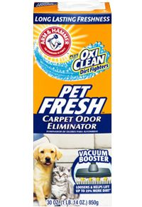 ARM & HAMMER™ Plus OxiClean™ Dirt Fighters Carpet Odor Eliminator– Pet Fresh KZ approved.