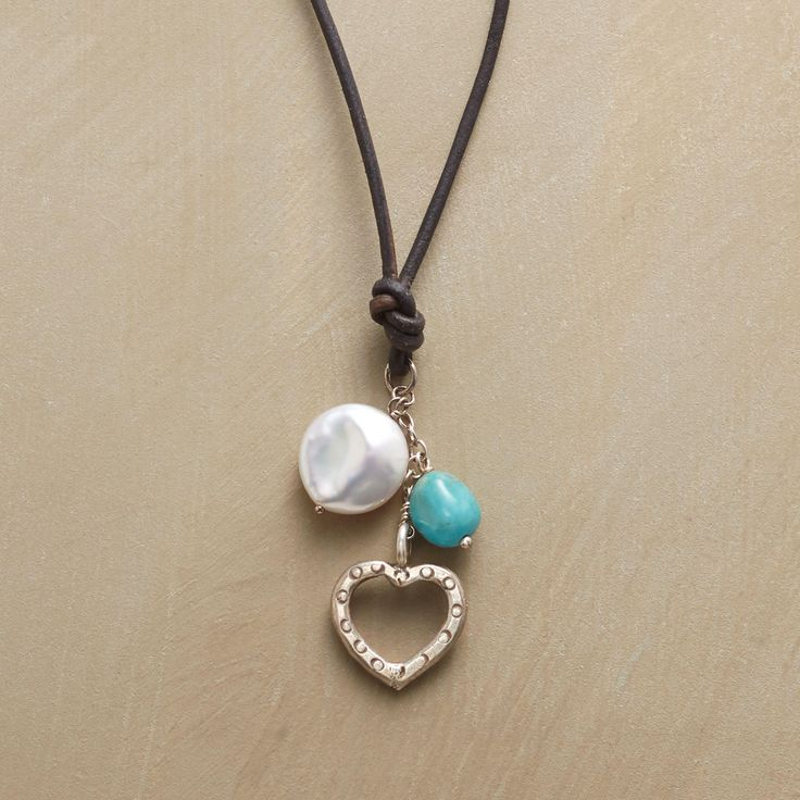 HEALING HEART NECKLACE -- Some associate turquoise with healing, and natural freshwater pearls with sincerity. Thai silver heart. Leather