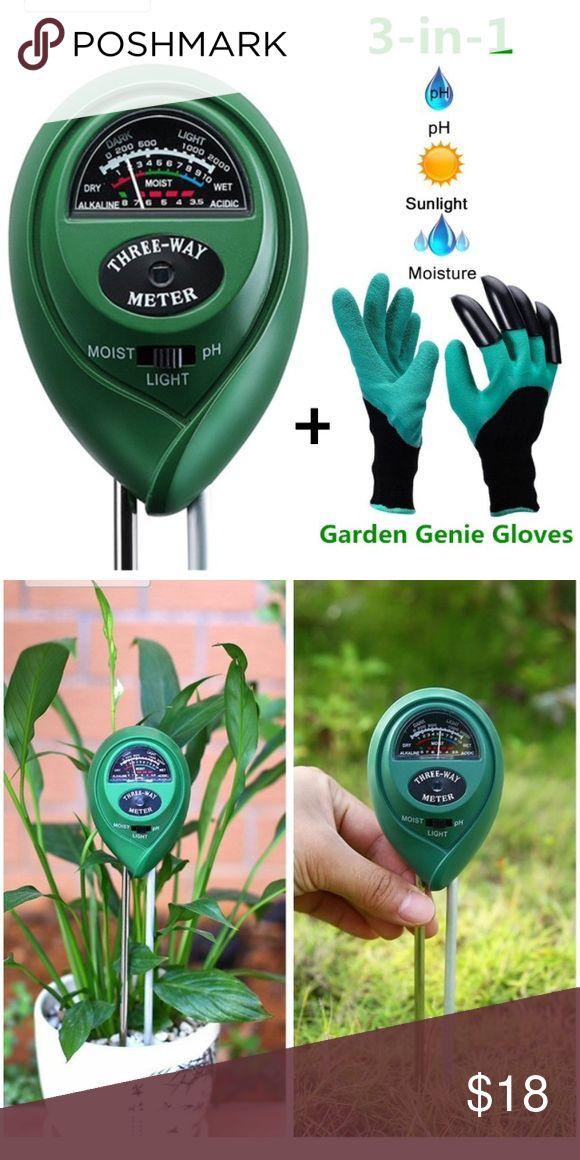 NEW Soil Tester Kit (3-in-1) soil meter,gloves ✅NEW ✅Soil pH Meter ✅Soil Tester Kit Include 3-in-1 Soil Moisture Meter for pH/ Moisture/ Light and Garden Genie Gloves, Garden/ Farm/ Lawn/ Flowerpot/ Home Tools, Indoor/ Outdoors Plants,Herbs& Gardening Accessories