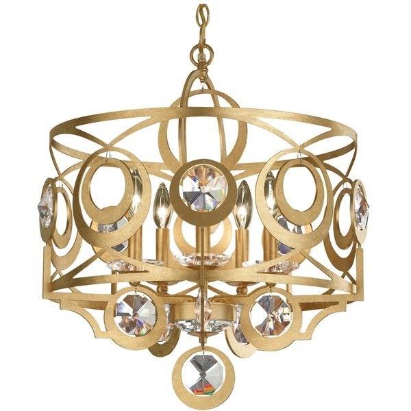 """Schonbek Gwynn 21""""W Gold and Crystal 5-Light Chandelier ($2,198) ❤ liked on Polyvore featuring home, lighting, ceiling lights, gold drum chandelier, gold chandelier, t5 light, crystal hanging lights and schonbek chandelier"""
