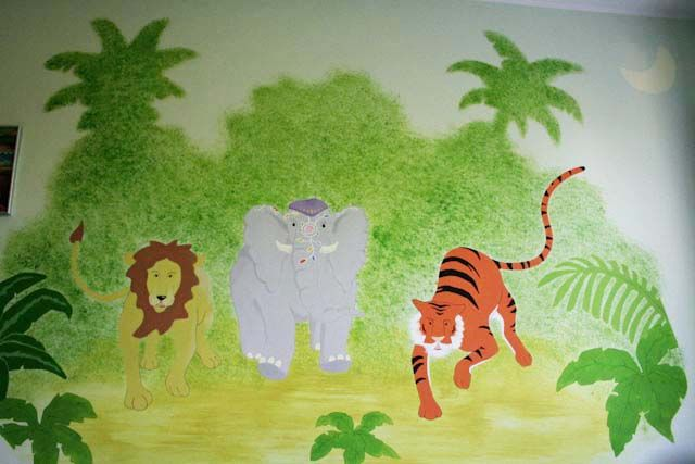 "[ Murale ""Jungla Indiana"", 2008, by Bettole d'Incanto ] #Wall #Mural #Kidsroom #Handmade #BettoleDIncanto #Elephant #Lion #Tiger #Forest"
