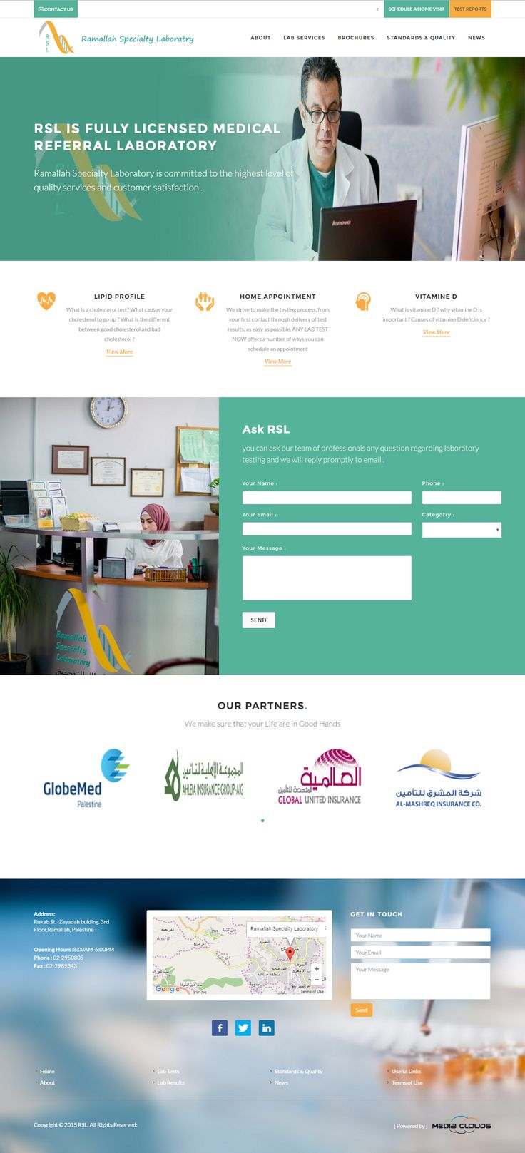 Website development and design for Ramallah Specialty Laboratory.