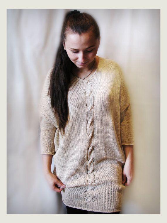 Cream merino wool dress by Rewella on Etsy
