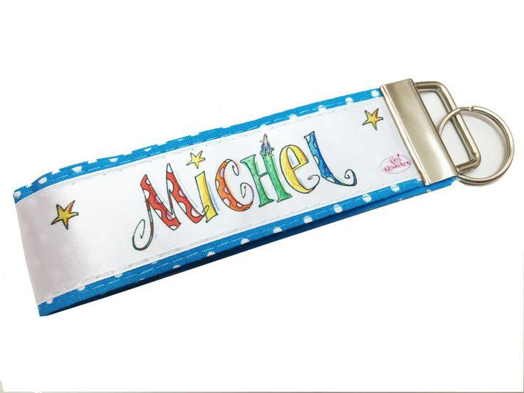 Schultüten - Schlüsselband blau mit Namen - ein Designerstück von RosiRosinchen…