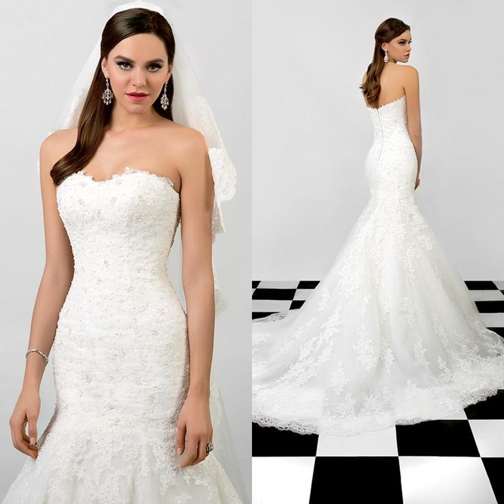 2015 Attractive Mermaid Wedding Dress Strapless Sleeveless Lace Appliques Beads Court Train Bridal Gowns With Removable Sheer Train Cheap Wedding Dresses Quinceanera Dresses From Dress_1st, $230.37| Dhgate.Com