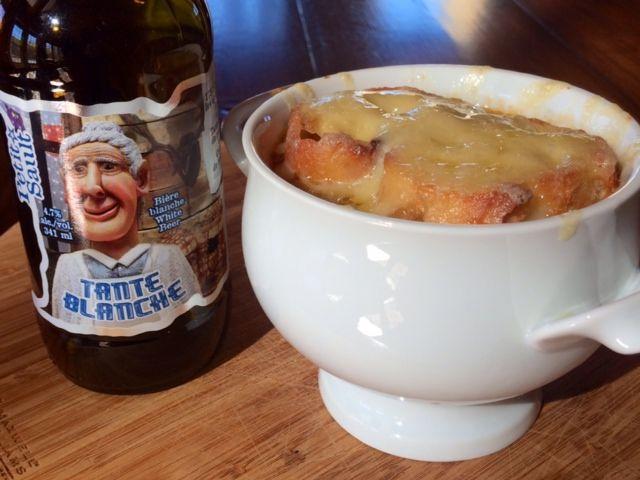 Soupe à l'oignon à la bière Tante Blanche des Brasseurs du Petit-Sault