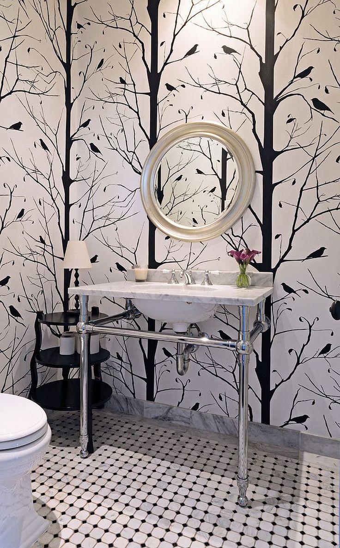 Blackbird wallpaper for the black and white powder room [Design: Carolyn Reyes]