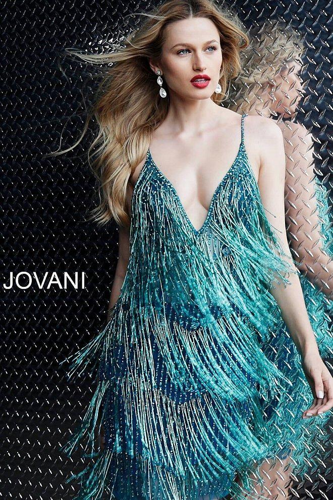 Jovani 61883 Short Fringe Plunging V Neck Cocktail Party