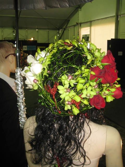The Green Wired Hat Green Singapore Orchids, Red Roses , White Roses