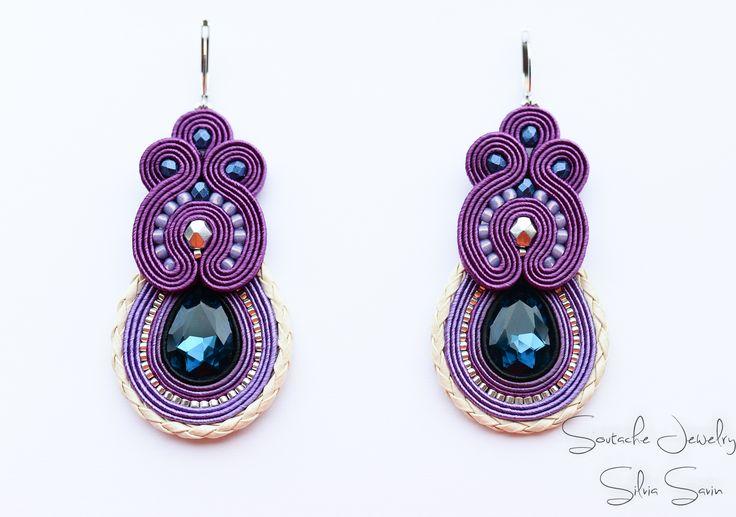 Purple/Blue/Ivory/Silver Handmade Soutache earrings
