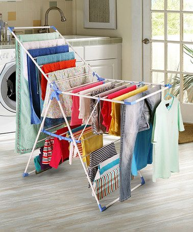 Look at this #zulilyfind! Blue & White Collapsible Clothes Drying Stand #zulilyfinds
