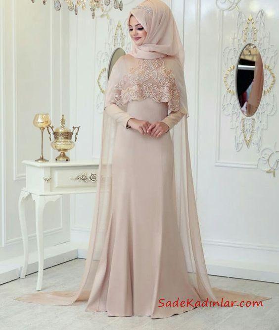 2020 Tesettur Abiye Modelleri Pudra Uzun Pelerin Yaka Dantel Detayli Elbise Dugun Ziyafet Elbiseler Giyim