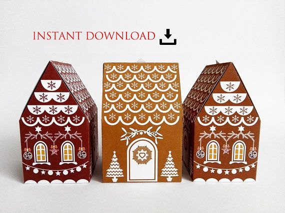 printable INSTANT DOWNLOAD gingerbread house christmas gift
