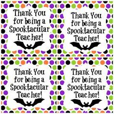 Spooktacular Teacher Freebie Halloween gift ideas