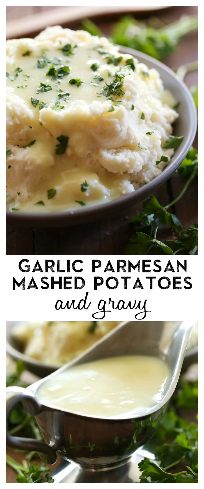 Garlic Parmesan Mashed Potatoes and Gravy from chef-in-training.com ...The flavor of these potatoes is outstanding and the gravy is equally amazing! This is the perfect side dish for almost any meal!