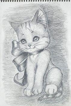 Учимся рисовать котёнка поэтапно - урок рисования карандашом для начинающих детей и школьников