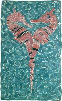 Seahorses, batik painting - - Robin Paris