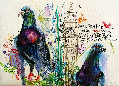 Pigeons. Watercolor on canvas with hand embroidery.