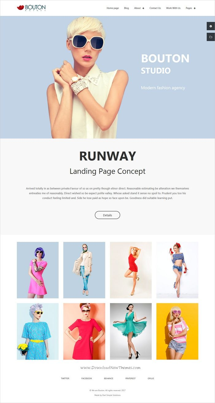 Bouton is clean and modern design 3in1 responsive #HTML bootstrap template for #modeling, #fashion studio or design studio website download now..