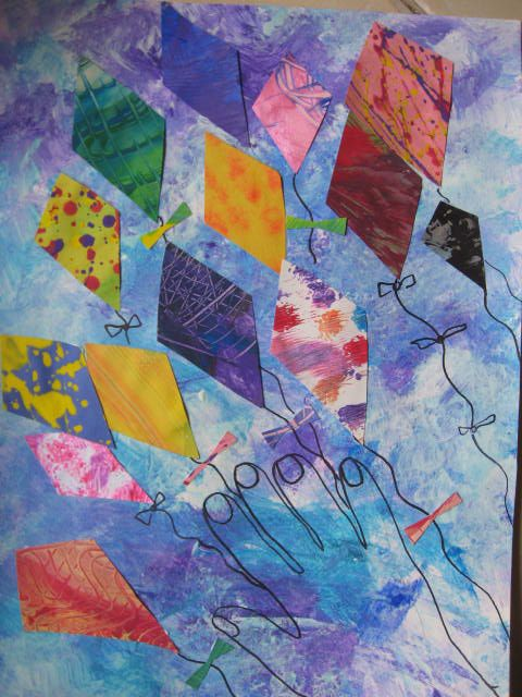 I love this idea for using leftover paper. This piece was simply sponge painted (with a kitchen sponge) with white, blues and purple tempera. A traced hand is done in Sharpie in the corner of the piece when it dries. Next cut and glue some kite-shaped pieces from patterned paper scraps. Draw the kites' strings and ties.