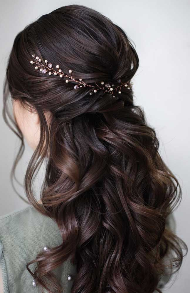 43 Gorgeous Half Up Half Down Hairstyles - Fabmood | Wedding Colors, Wedding Themes, Wedding color palettes