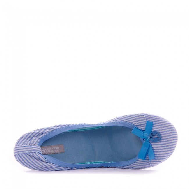 Gina - Travel Ballet Slippers - Blue Stripe - Top
