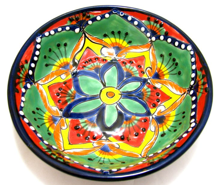 MEXICAN TALAVERA POTTERY BOWL PLATE 7.5""