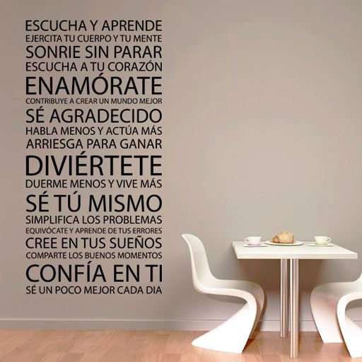 Vinilo decorativo formado por sabios consejos, ideal para decorar una pared, mueble o cristal.