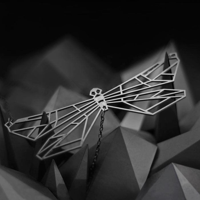 Dragonfly—black geometric necklace from Spacelights