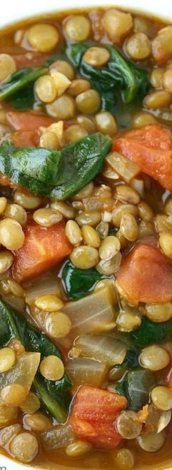 Great no-oil lentil soup recipe! Just omit the salt and it conforms to Dr. Fuhrman's nutritarian Eat to Live plan--must try!