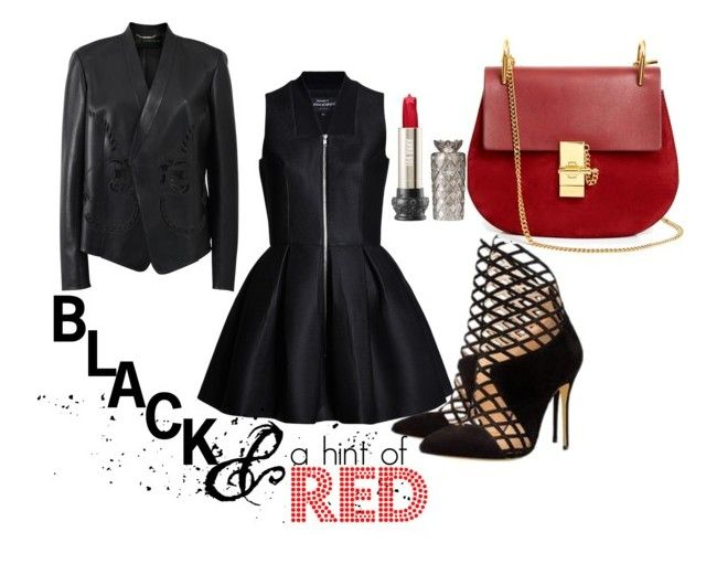 """black and a liitle red"" by msirenefaith on Polyvore featuring Versace, Chloé and Anna Sui"