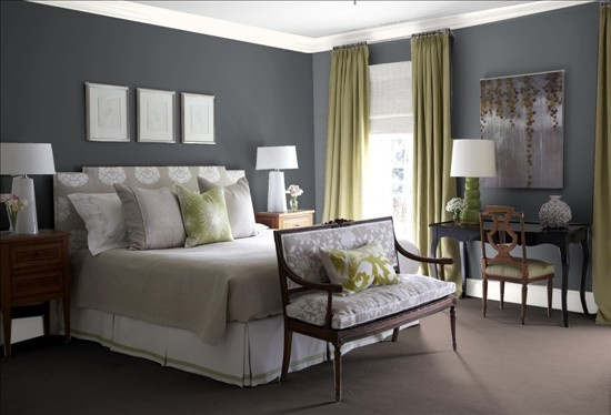 balenciaga at barneys Stormy Sky  Benjamin Moore I love a settee at the foot of the bed   trg