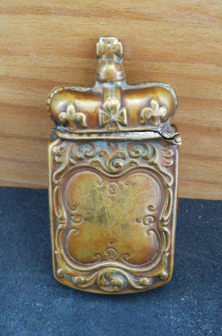 Antique Brass Vesta Case - Coronation Crown Vesta Case - Antique Novelty Brass Match Safe In The Shape Of The Coronation Crown by OnyxCollectables on Etsy
