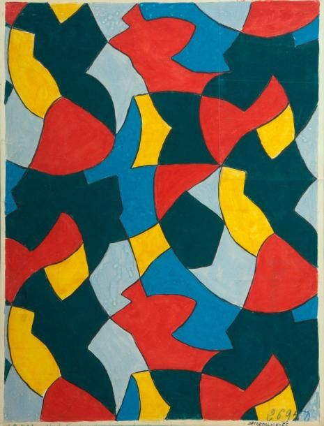 Serge Poliakoff (1900-1969) Composition in red, yellow, blue, green and gray 1946 Gouache on paper signed and numbered 26950 on the bottom right