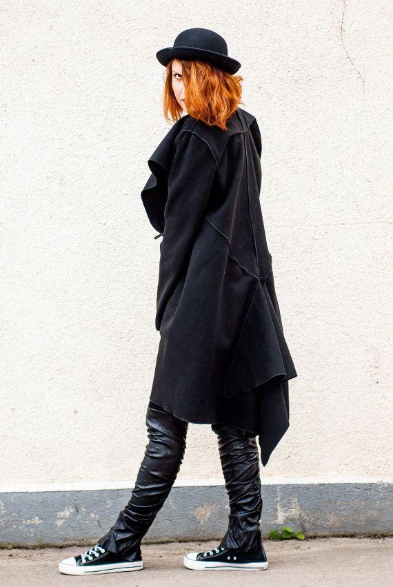 Black Asymmetric Coat / Cocoon Fit Winter Coat / Swing Shape https://www.etsy.com/listing/168629913/black-asymmetric-coat-cocoon-fit-winter?utm_campaign=crowdfire&utm_content=crowdfire&utm_medium=social&utm_source=pinterest