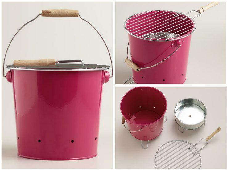 Mini Pink Galvanized Steel Bucket Grill via Cost Plus World Market >> #WorldMarket Outdoor, Entertaining, BBQ Accessories, Glamping, Camping Ideas
