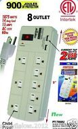 8 OUTLET POWER STRIP SURGE PROTECTOR W/ 2 USB PORTS AND CHILD PROOF - 900 JOULES