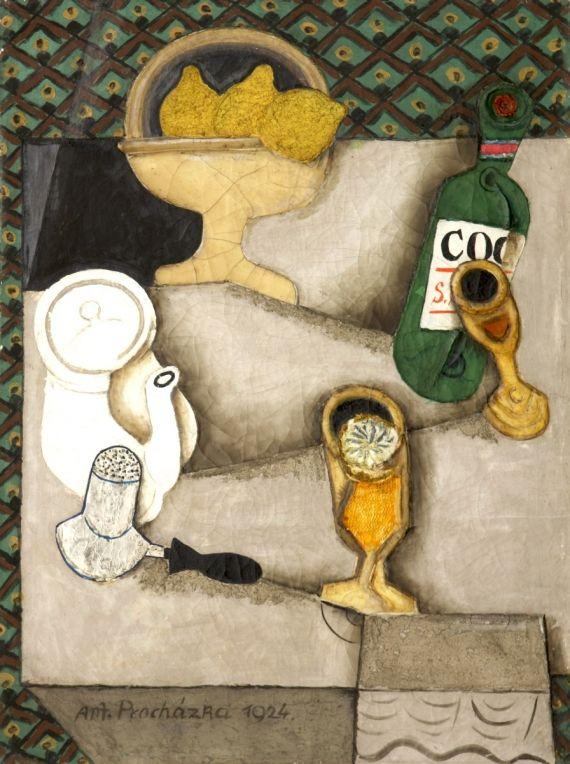 Antonín Procházka – Čaj s citronem (Zátiší s citrony), 1924; olej, enkaustika, písky na plátně, 70x52 cm