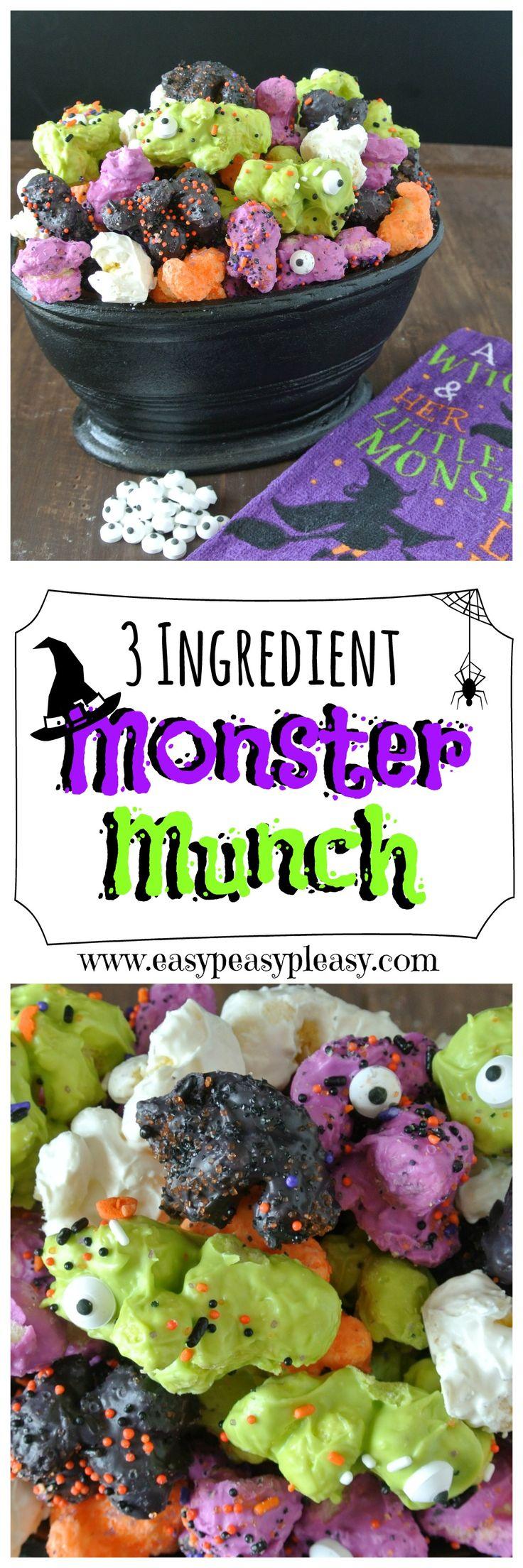 No popcorn here...3 Ingredient Monster Munch is the perfect Halloween Treat!