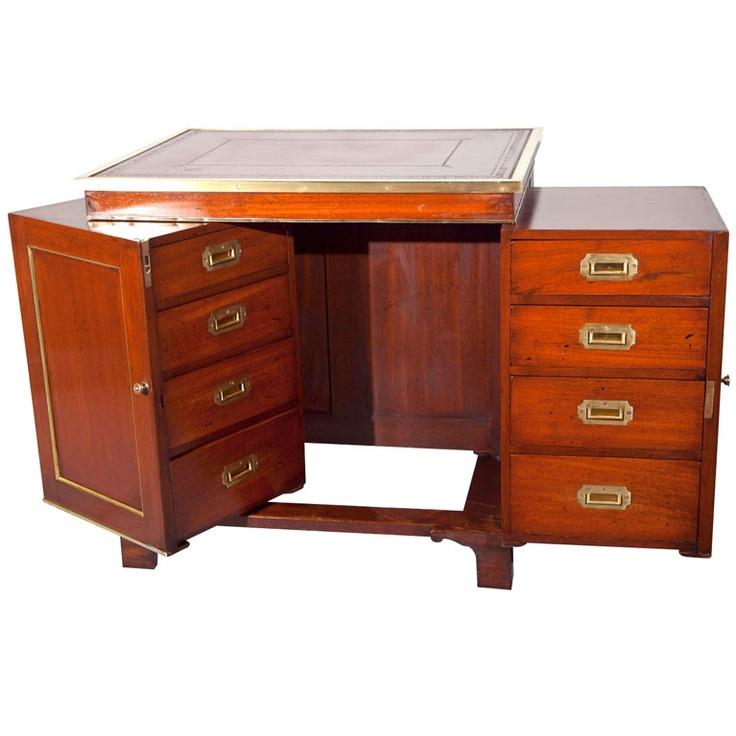 Antique Mahogany Campaign Desk