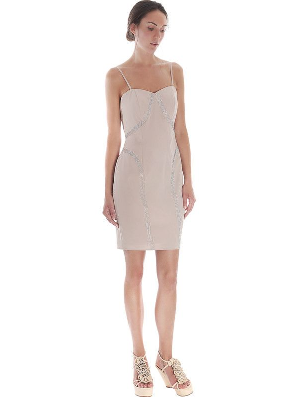 Elegant beige sheath dress with rhinestones by Pastore Couture
