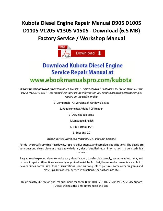 kubota diesel engine repair manual d905 d1005 d1105 v1205 v1305 Dodge Diesel Engine Diagram