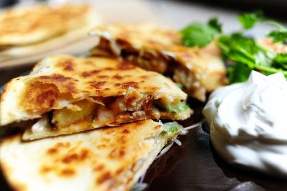 grilled chicken and pineapple quesadillas...look good