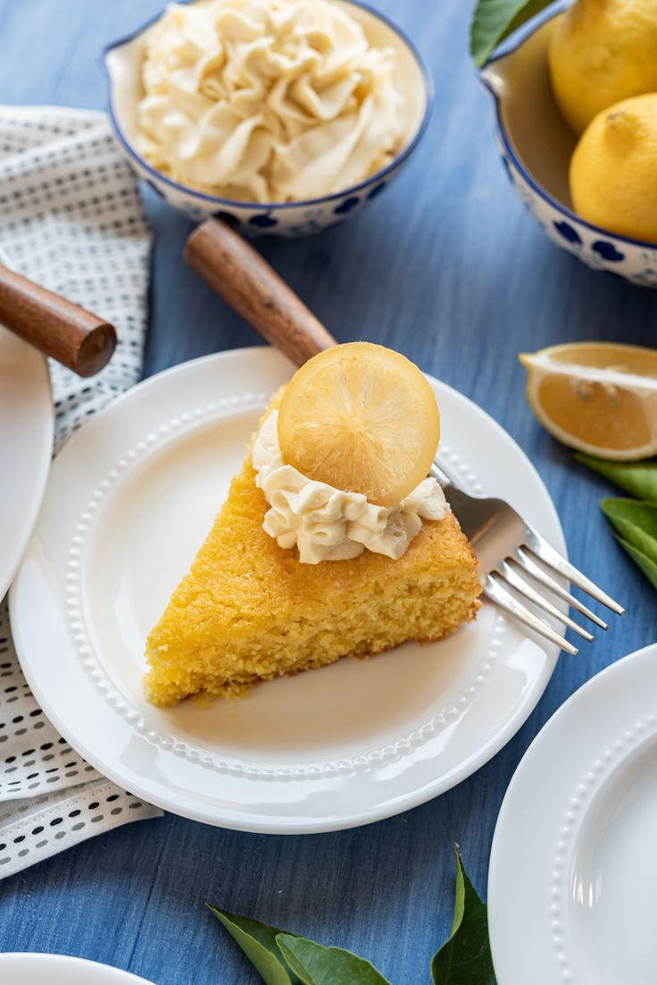 Polenta Lemon Olive Oil Cake with Whipped Honey Mascarpone