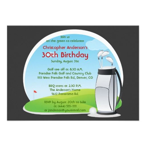 20 best golf themed birthday invitations images on pinterest golfer golf golfing bag and clubs 30th birthday invitation stopboris Image collections