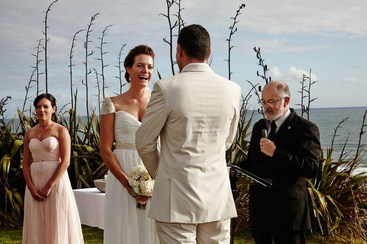 Danella Jade / Castaways / Reem Acra copy / Beige suit / Happy / beach wedding