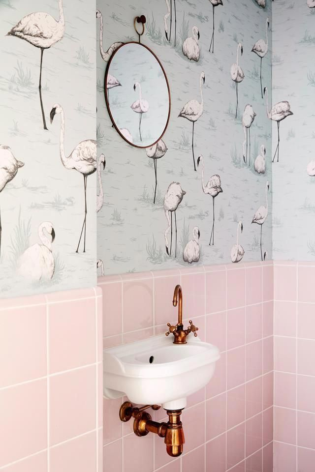 With Its Pink Tiles And Patterned Wallpaper This Powder Room Looks Like It S Been Pulled Straight Out Of A Pink Bathroom Tiles Cole And Son Bathroom Wallpaper