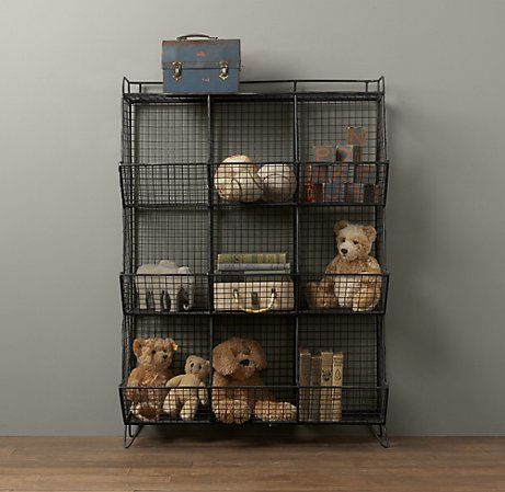 Restoration Hardware Industrial Wire Storage. Love the rustic look. Love the organizational opportunities.