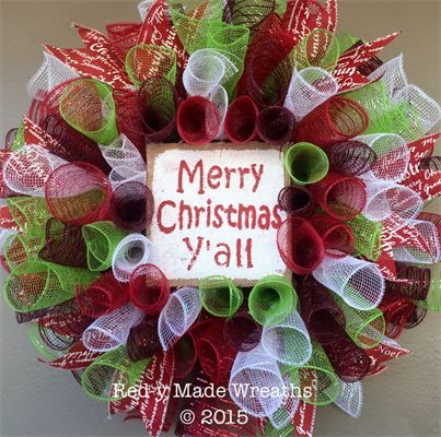 484 best red y made wreaths images on pinterest deco mesh wreaths 20 merry christmas yall spiral mesh wreath in red solutioingenieria Gallery